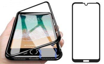 Etui 360 MAGNETIC Huawei Y6 2019 / PRO / PRIME czarny + szkło 5D FULL GLUE