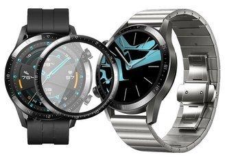 Opaska pasek bransoleta LINKBAND Huawei Watch GT 2 46mm srebrna +szkło 3D