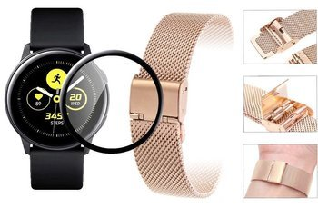 Opaska pasek bransoleta Milanese band z zapięciem Samsung Galaxy WATCH Active 2 40mm rose gold +szkło 5D