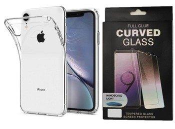 Spigen Liquid Crystal żelowe etui elastyczny pokrowiec iPhone XR przezroczysty (064CS24866) +szkło UV