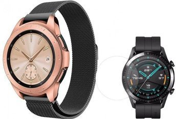 TECH-PROTECT MILANESE opaska pasek bransoleta BAND Huawei Watch GT 2 46mm BLACK +szkło hartowane na ekran