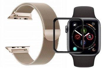 opaska pasek bransoleta MILANESEBAND Apple Watch 4/5 44MM GOLD +szkło 5D