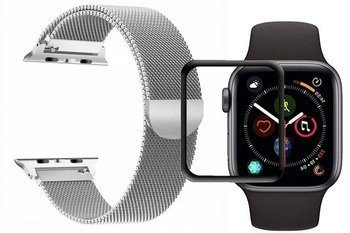 opaska pasek bransoleta MILANESEBAND Apple Watch 4/5 44MM SILVER +szkło 5D