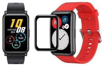 opaska pasek bransoleta SMOOTHBAND Huawei Watch FIT czerwona +szkło 5D