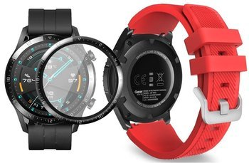 opaska pasek bransoleta SOFTBAND Huawei Watch GT 2 46MM RED +szkło 3D
