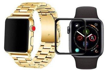 opaska pasek bransoleta STAINLESS STEEL Apple Watch 4/5 40mm GOLD +szkło 5D