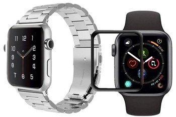 opaska pasek bransoleta STAINLESS STEEL Apple Watch 4/5 44MM SILVER +szkło 5D