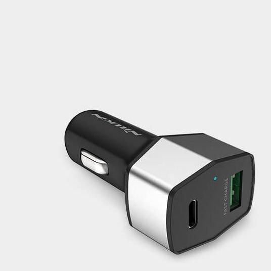 Nillkin Celerity Car Charger nowoczesna ładowarka samochodowa USB + USB Type C QC 3.0 3A złoty