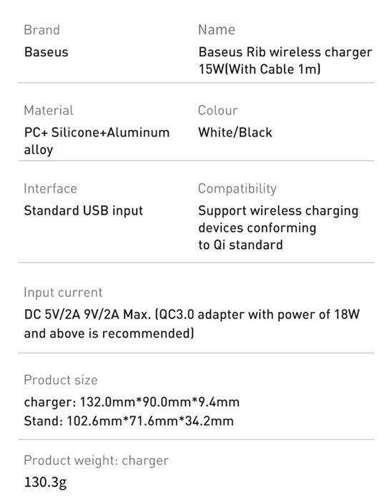 Baseus Rib bezprzewodowa indukcyjna ładowarka Qi 15W z podstawką czarny (WXPG-01)
