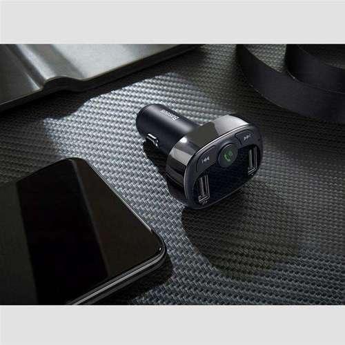 Baseus T-Typed Transmiter FM Bluetooth ładowarka samochodowa MP3 2x USB TF microSD 3.4A czarny (CCTM-01)