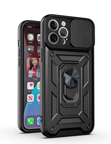 CAM SLIDER RING pancerne hybrydowe etui pokrowiec + magnetyczny uchwyt + ochrona aparatu Samsung Galaxy A12 czarny