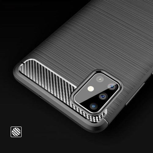 Carbon Case elastyczne etui pokrowiec Samsung Galaxy A71 niebieski