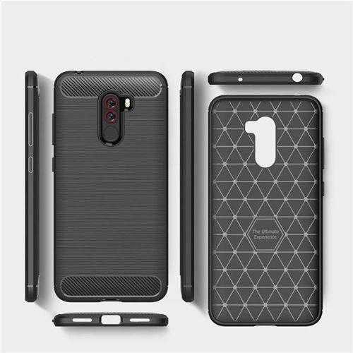 Carbon Case elastyczne etui pokrowiec Xiaomi Pocophone F1 czarny