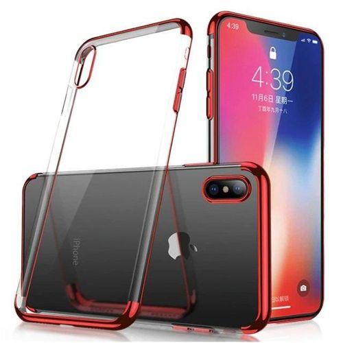 Clear Color case żelowy pokrowiec etui z metaliczną ramką Samsung Galaxy A40 czerwony