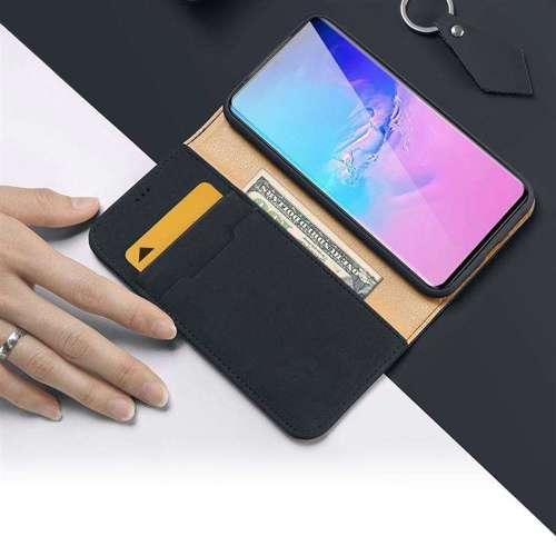 DUX DUCIS Wish skórzane etui pokrowiec ze skóry naturalnej Samsung Galaxy S20 Ultra niebieski