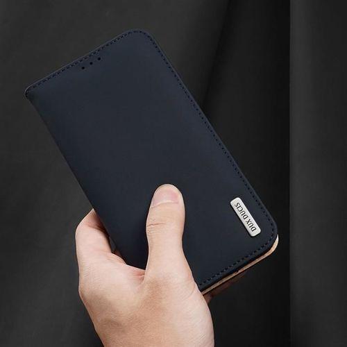 DUX DUCIS Wish skórzane etui pokrowiec ze skóry naturalnej Samsung Galaxy S20 niebieski