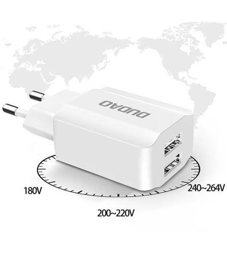Dudao ładowarka sieciowa EU 2x USB 5V/2.4A + kabel USB Typ C biały (A2EU + Type-c white)