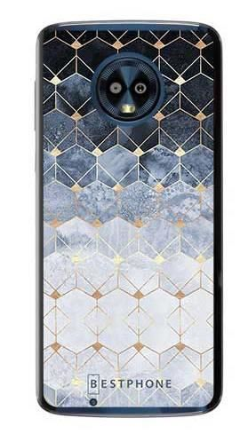 Etui art deco błękitne na Motorola Moto G6