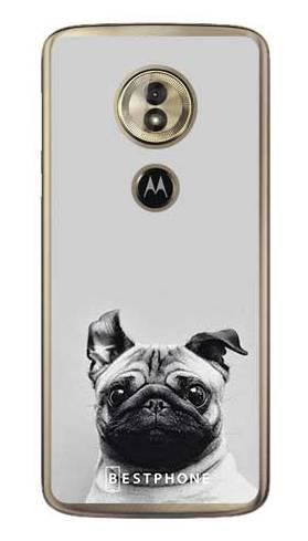 Etui mops na szarym tle na Motorola Moto G6 Play