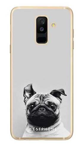 Etui mops na szarym tle na Samsung Galaxy A6 Plus