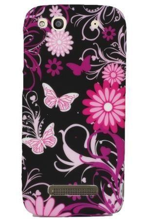 FLOWER Alcatel IDOL ALPHA czarne kwiaty i motyle