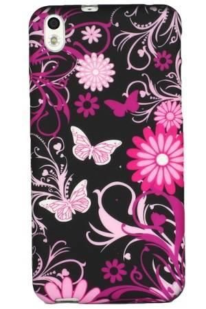 FLOWER HTC Desire 816 czarne kwiaty i motyle