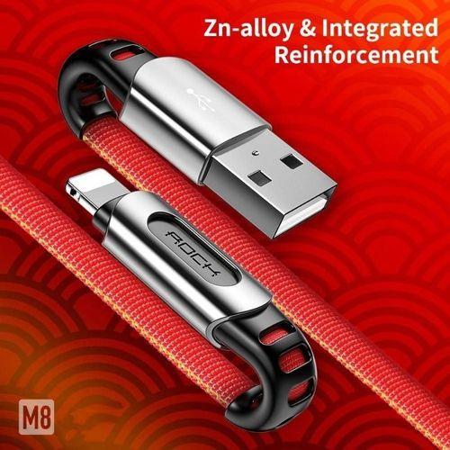 Kabel USB do USB iPhone Lightning 1m ROCK M8 ZN-ALLOY czerwony