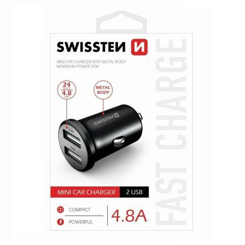 Ładowarka Samochodowa Swissten 2xUSB 4.8A METAL czarna
