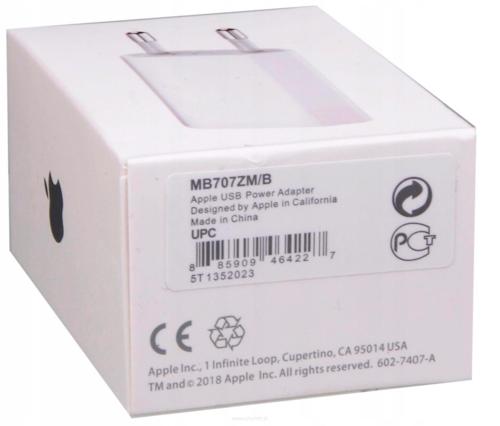Oryginalna ładowarka sieciowa APPLE IPHONE MD813ZM/A A1400 5W Box Flextronics + Kabel MD818 Lightning