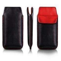 Pionowa skórzana wsuwka Vena SONY ERICSSON X10 MINI czarna (czerwony środek)