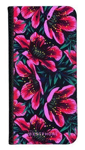 Portfel Wallet Case LG G8 ThinQ różowo czarne kwiaty