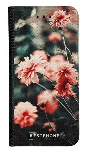 Portfel Wallet Case LG K40 pomarańczowe kwiaty