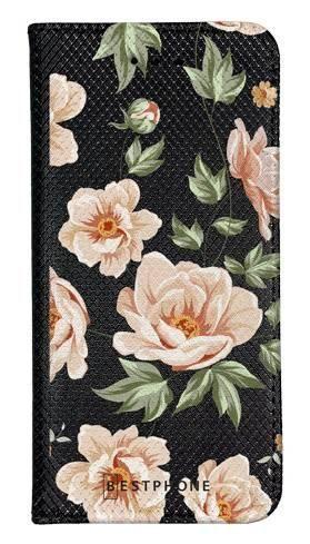 Portfel Wallet Case LG K40 róże na czarnym