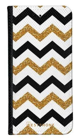 Portfel Wallet Case Samsung Galaxy A20e złoto czarny szlaczek
