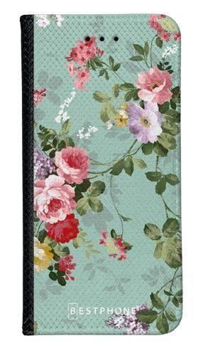Portfel Wallet Case Samsung Galaxy A5 zielone kwiatki