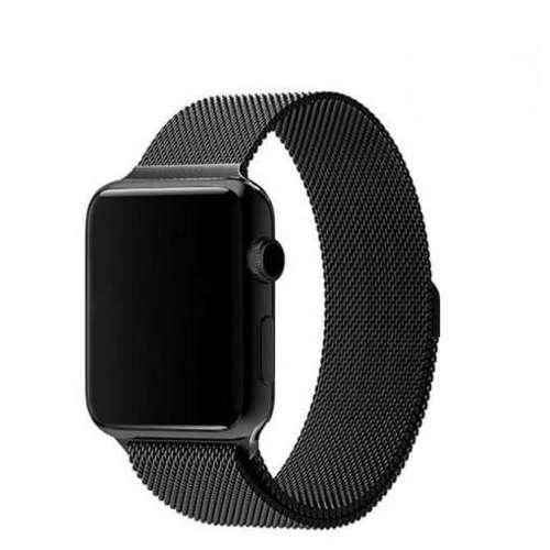 opaska pasek bransoleta MILANESEBAND Apple Watch 4/5/6/SE 40mm czarna +szkło 5D