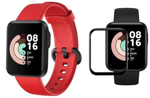 opaska pasek bransoleta SMOOTHBAND Xiaomi Mi Watch Lite czerwone +szkło 5D